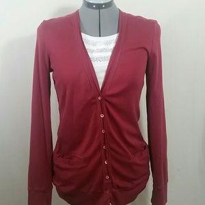 J.CREW Perfect Fit Red Cardigan Sweater Size L